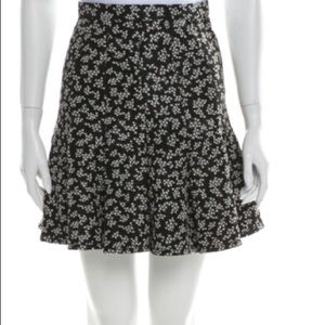 Carven Black white floral print mini pleated skirt